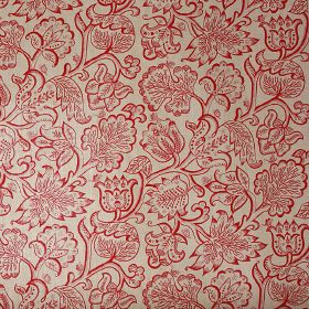 Jacobean  - Rose Red - 100% linen fabric in light grey, printed with a pattern of large, ornate, detailed flower and leaf outlines in red