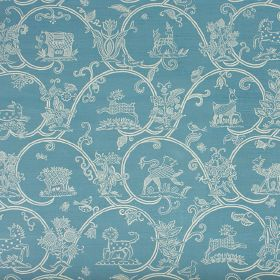 Little Animals Blotch - Aqua - Rows of large wave-style swirls with flowers and patterned animals in white on bright blue linen and cotton b