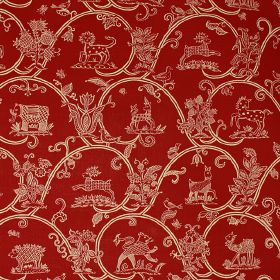 Little Animals Blotch - Red - Fiery orange-red coloured linen and cotton blend fabric printed with flowers, animals and wave-like swirls in