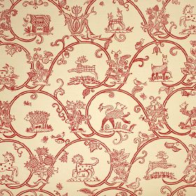 Little Animals  - Red - Dark red and cream coloured fabric made from linen and cotton, printed with wave-like swirls, animals and flowers
