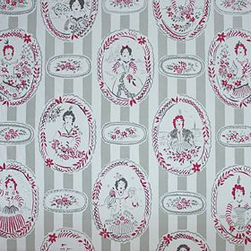 Mademoiselle - Grey - Cancan style girls within oval windows, printed in grey, white and red, with flowers and stripes on 100% cotton fabric