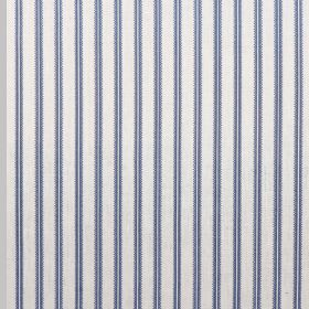 Milson Ticking - French Blue - 100% linen fabric made in blue and white, featuring a pattern of pairs of evenly spaced vertical lines