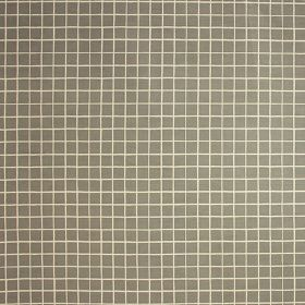 Pop Check - Flint - A simple white grid printed over an iron grey coloured linen and cotton blend fabric