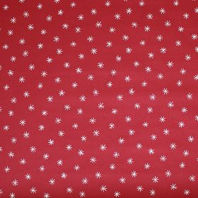 Twinkle - Red - 100% cotton fabric made in tomato red, printed with a white pattern of small asterisk style stars