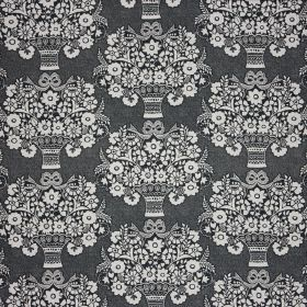 Gloriana - Charcoal - Dark blue-grey and white coloured 100% linen fabric printed with a repeated pattern of small vases and stylised flower