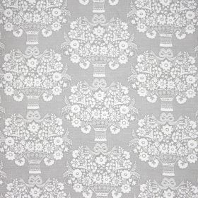 Gloriana - Flint - A repeated stylised flower and vase print pattern on fabric made from linen and polyamide in white and pale blue