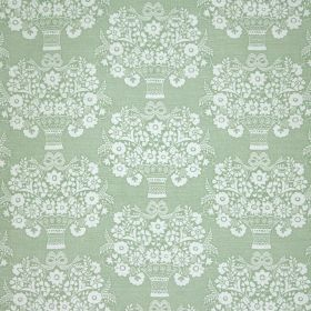 Gloriana - Sage - Fabric made from pale green and white linen and polyamide, repeatedly patterned with small vases and stylised flowers