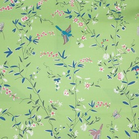 Hermitage Birds - Green - Light green coloured 100% cotton fabric scattered with delicate pink and white flowers, purple birds & dark teal l