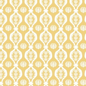 Georgie Girl - Light Yellow - Fabric made from 100% cotton in a light shade of orange, printed with wavy lines and patterned circles in whit