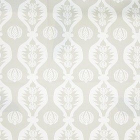 Georgie Girl - Grey - 100% cotton fabric made in white and light grey, featuring wavy lines and a simple design of patterned circles