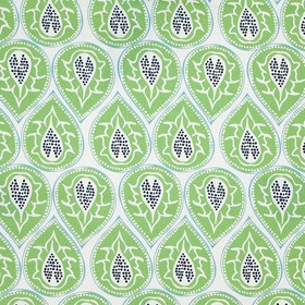 Bertie - Green - White 100% cotton fabric printed with rows of patterned teardrop shapes made in grass green and shades of blue