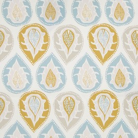 Bertie - Yellow - Fabric made from 100% cotton with patterned teardrops in white and light, fresh shades of beige, blue, cream and caramel