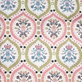 Camilla - Fpink - Pretty, delicate flowers and patterns printed on white 100% cotton fabric in light shades of pink, beige and blue