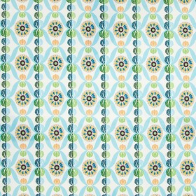 Lovely - Sophie - Patterned circles and designs on 100% cotton fabric in white, navy, forest green and light shades of coral, blue & green