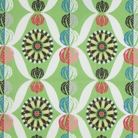 Lady - Elizabeth - 100% cotton fabric in white and various shades of green, light red and dusky blue, with designs and patterned circles