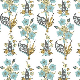 Victoria - Fabric - Bunches of light blue flowers with patterned navy blue and gold coloured leaves printed on white 100% cotton fabric