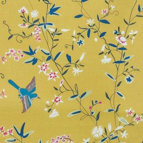 Hermitage Birds - Orange - Dark teal and purple coloured birds and leaves with delicate white & pink flowers on caramel coloured 100% cotton