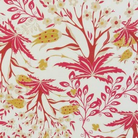 Persian - Queen - Rich raspberry coloured leaves with some light coffee coloured elements printed on fabric made from white 100% cotton