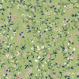 Hermitage Spring - Green - Delicate light pink and cream flowers with midnight blue coloured leaves on a light green 100% cotton fabric back