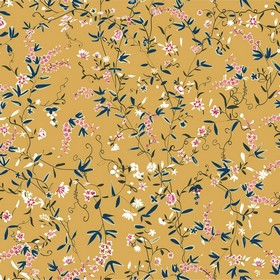 Hermitage Spring - Orange - Light orange fabric made from 100% cotton, with delicate leaves and flowers in pink, white, dark grey and midnig