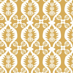 Charley Bird - Orange - Wavy lines and small patterns printed in white on a light caramel coloured 100% cotton fabric background