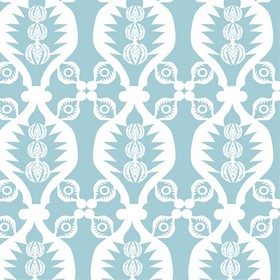Charley Bird - Blue - Baby blue and white coloured fabric made from 100% cotton, featuring a stylish design of wavy lines and small patterns