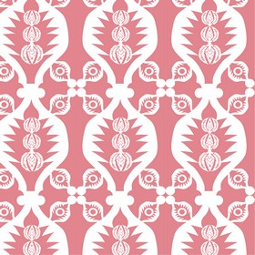 Charley Bird - Dark Pink - Candy pink coloured 100% cotton fabric printed with a repeated design of wavy lines and small, stylish patterns i