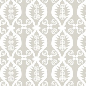 Charley Bird - Grey - A repeated design of wavy lines and small patterns printed in white and light grey on 100% cotton fabric