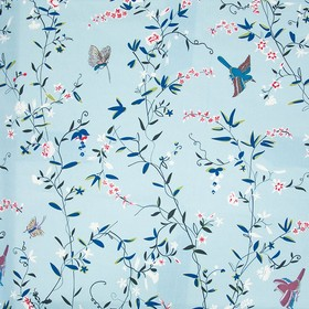 Hermitage Birds - Blue - Dark teal with light shades of blue, pink and white making up a delicate floral, leaf & bird print on 100% cotton f