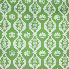 Georgie Girl - Green - 100% cotton fabric made in grass green, patterned with wavy white lines and patterned white and pale blue circles
