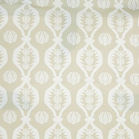 Georgie Girl - Neutral - Wavy lines and small patterned circles printed on a light grey and white coloured 100% cotton fabric