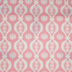 Georgie Girl - Light Pink - White wavy lines and patterned light pink and white circles printed on a candy pink coloured 100% cotton fabric ba