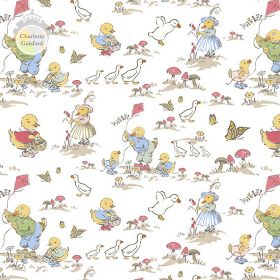 Ducks - Day Out - Linen and cotton blend fabric in white, with blue, yellow, red and green characters, ducks, mushrooms and butterflies