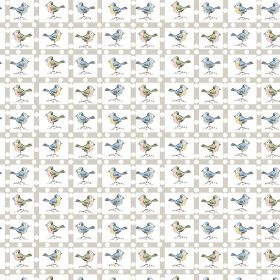 Balancing - Birds - White linen and cotton blend fabric printed with a light grey grid and small birds in pale shades of blue and pink-grey