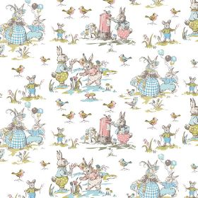 Bunnies - At Play - Grey bunnnies wearing clothes in light shades of pink, blue and green printed on white linen and cotton blend fabric