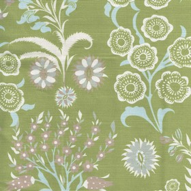 Tsarina - Green - Floral patterned fabric made from linen and cotton in pastel shades of purple, blue, green and white