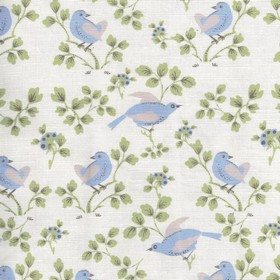 Madam Birdie - Soft Blue - Floral and bird print fabric made from linen and cotton, with a pretty design in light grey shades and baby blue