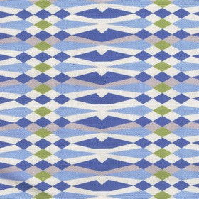 American Queen - Blue - Denim blue, baby blue, white, olive green and light grey making up a geometric pattern on linen and cotton blend fab