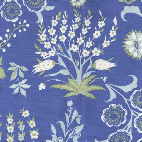 Tsarina - Blue - Royal blue linen and cotton blend fabric printed with a pretty, fun floral pattern in white, cement grey and powder blue