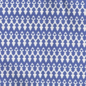Tea for Two - Blue - Horizontal rows of small, delicate patterns made in white, very pale icy blue and Royal blue on linen-cotton fabric