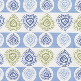 China Cup - Blue - Linen and cotton blend fabric featuring horizontal rows of patterned teardrop shapes in white, grey and two blue shades