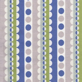 Lucky Lucy - Blue - Fabric made from linen and cotton in white,olive green, denim blue and grey shades, with rows of circles and scallops