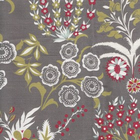 Tsarina - Red - Indulgent cherry, battleship grey, olive green and white coloured floral patterns printed on linen and cotton blend fabric