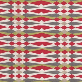 American Queen - Red - Geometric patterned fabric made from linen and cotton in indulgent white, battleship grey, olive green and burgundy