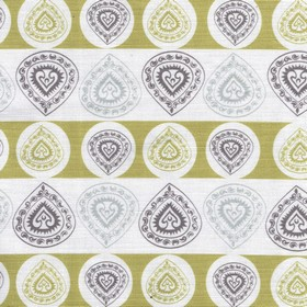 China Cup - Soft Green - Dark gold, beige, white and two shades of grey making up rows of patterned teardrops on linen and cotton blend fabr