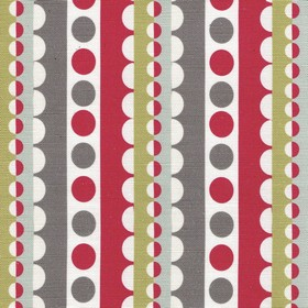 Lucky Lucy - Red - Linen and cotton blend fabric printed with rows of circles and scallops in white, scarlet, grass green & shades of grey