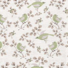Madam Birdie  - Soft Green - White linen and cotton blend fabric printed with light purple leaves and birds in light shades of grey