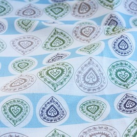 China Cup - Soft Blue - Patterned teardrop shapes arranged in horizontal rows on linen-cotton fabric in white, light grey, icy blue and purp