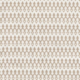 Tea for Two - Natural - Small, delicate light grey-brown patterns arranged in horizontal rows on a white linen and cotton blend fabric backgro