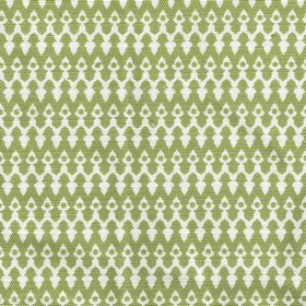 Tea for Two - Green - Linen and cotton blend fabric made in olive green and white, featuring horizontal rows of small, delicate patterns